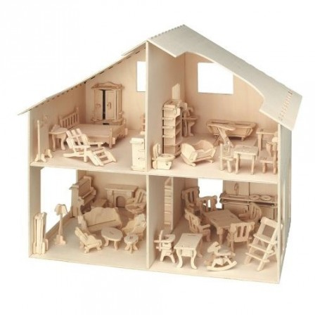 Loisirs creatifs une maison de poup e en bois monter for Maison pas cher en bois