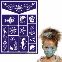maquillage pochoir enfant mer poissons theme marin pour carnaval anniversaire fille garçon facile à réaliser et à demaquiller idees maquillage enfant.jpg