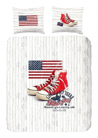 Housse de couette ado adolescent linge de lit housse couette parure compl te mode pour - Housse de couette drapeau americain ...