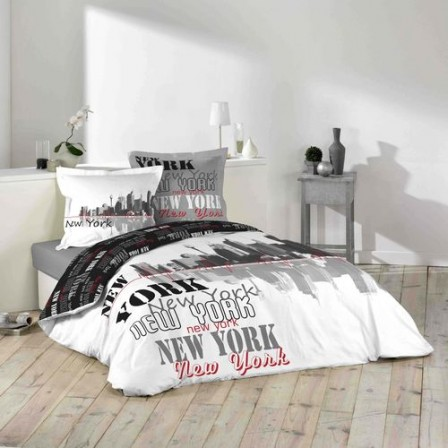 new york housse de couette parure de couette 220 x 240. Black Bedroom Furniture Sets. Home Design Ideas