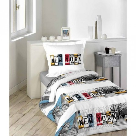 new york housse de couette parure de couette 220 x 240 pas cher parure de couette new york. Black Bedroom Furniture Sets. Home Design Ideas