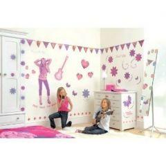 décoration de chambre de fille avec des stickers géant hannah ...