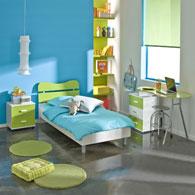 Chambre compl te pour fille ou gar on aux couleurs acidul s lit chevet bureau et rangement - Couleur peinture chambre ado garcon ...