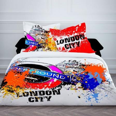 Housse de couette ado adolescent linge de lit housse - Housse de couette london 2 personnes ...