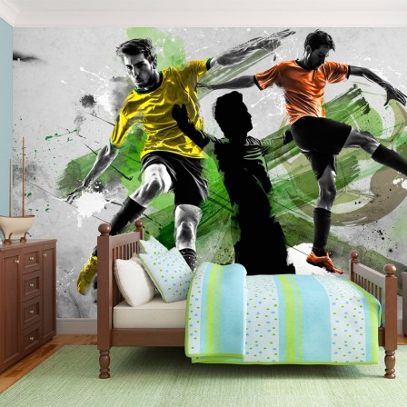 deco murale foot decoration chambre enfant sur le th me du football deco chambre gar on foot. Black Bedroom Furniture Sets. Home Design Ideas