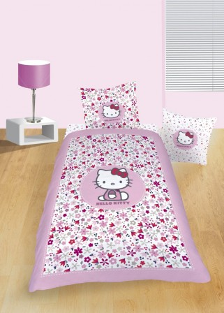 hello kitty housse de couette taie d 39 oreiller hello kitty parure de lit hello kitty linge. Black Bedroom Furniture Sets. Home Design Ideas