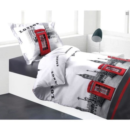 Housse de couette londres london linge de lit londres for Housse de couette 140x200 grise