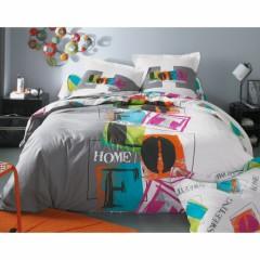 housse de couette colorée 140 x 200, 200 x 200 et 220 x 240 pas chere moderne linge de lit ado adulte vitaminée avec texte imprimé housse fantaisie.jpg
