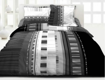 Housse de couette ado adolescent linge de lit housse for Housse couette noir et blanc