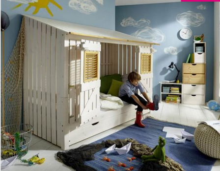 Lit cabane enfant lit surelev pour fille et gar on lit for Lit woody wood