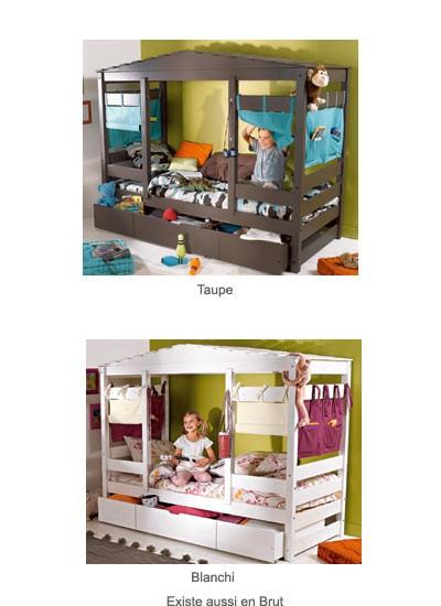 Lit cabane pour enfant lit cabane pour chambre de fille ou gar on gain de - Rideaux pour lit cabane ...