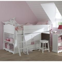 lit combin blanc pour chambre d 39 enfant pas cher lit commode bureau et tag re en un seul. Black Bedroom Furniture Sets. Home Design Ideas