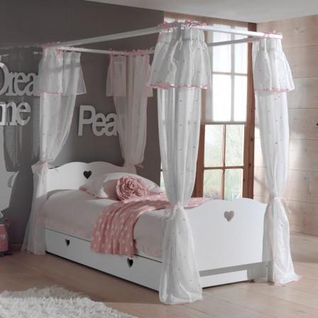 Lit pour chambre de fille lit original pour am nager une chambre de fille - Lit baldaquin bois blanc ...