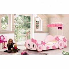 lit voiture pour fille 1 place 90 x 190 avec toit rideaux lit véhicule original blanc et rose pour chambre de fille.jpg