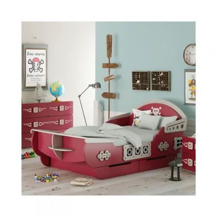 8a41a7fd4e22b Magnifique lit de pirate en forme de bâteau blanc et rouge (possibilité  d acheter des meubles dans la même gamme de produit pour une chambre  complète de ...