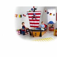 lit pirate forme bateau et drapeau de pirate chambre enfant pirate lit enfant pirate pas cher - Lit Pirate