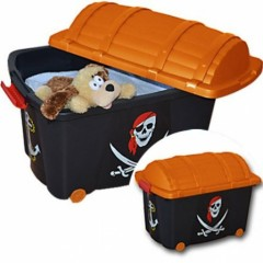 Rangement pirate bo te meuble rangement coffre pirate pour am nager une chambre d 39 enfant - Coffre a jouet plastique ...