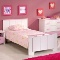 lit 1 place fille lit de lit 90 x 190 rose et blanc