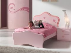 lit princesse rose aux formes arrondies lit fille 1 place 90 x 190