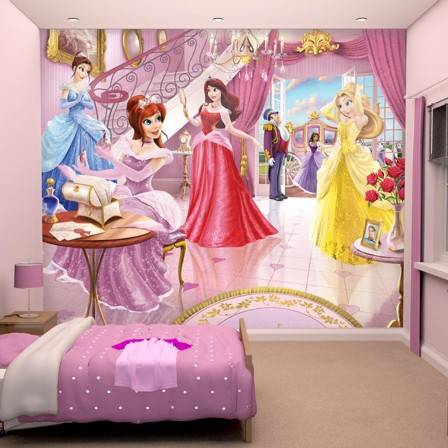 d cor murale de princesse disney pour chambre de fille. Black Bedroom Furniture Sets. Home Design Ideas