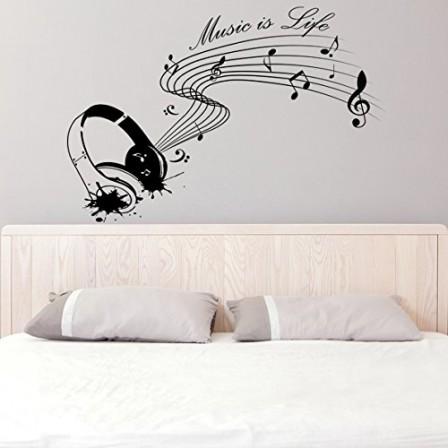 sticker musique decoration murale avec stickers muraux musique rock partition notes casque. Black Bedroom Furniture Sets. Home Design Ideas