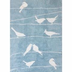 tapis chambre denfant et bb rectangulaire bleu ciel oiseaux sur un fil lili pouce - Tapis Chambre Bebe Bleu