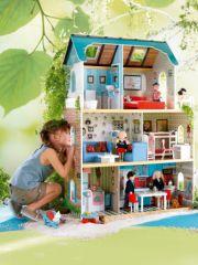 grande maison de poupe en bois dcoree avec meuble cadeau fille 4 ans 5 ans
