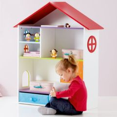 Une maison de poup e et tag re de rangement un jouet for Meuble de rangement pour chambre de fille