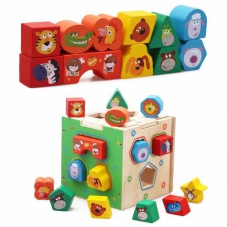 une id e cadeau pour un enfant de 2 ans la bo te pour encaster des formes en bois jeux jouets. Black Bedroom Furniture Sets. Home Design Ideas