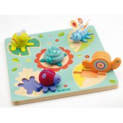 puzzle 3 D avec pièce en bois premier puzzle encastrement enfant fille 18 mois 2 ans puzzle animaux pour les petits