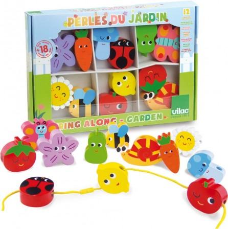perles en bois pour composer de jolis colliers jeux et jouets pour enfants de 1 an 4 ans. Black Bedroom Furniture Sets. Home Design Ideas