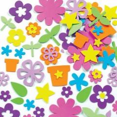 fleurs autocollantes en mousse avec pots, feuilles, tiges pour loisirs creatifs acivités manuelle fete des mères et printemps pas cher.jpg