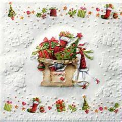 serviette noel blanche rouge verte paquet cadeau vendue à l'unité pas cher deco noel et collage serviette fête et noel.jpg