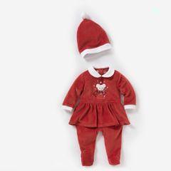 ea21dc209fbd6 pyjama noel rouge volanté avec bonnet pere noel pas cher tenue de fête et  noel pour