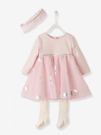 17f37fdc292de robe noel bebe fille 1 mois  3 mois  6 mois  9 mois  1 an robe 1er noel petite fille rose avec tulle et  feuilles argentees.jpg