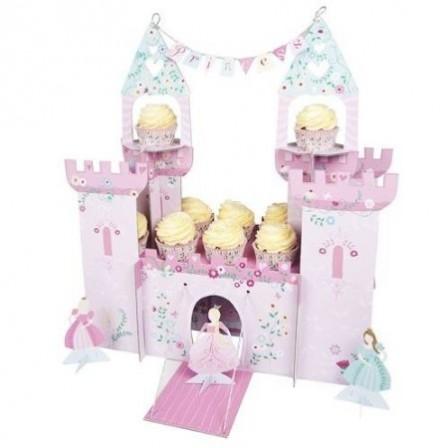 présentoir support gateau cupcake princesse en forme de château en carton original pour poser gateau anniversaire enfant thème princesse.jpg