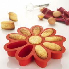 Moule à gâteau en silicone original en forme de fleur , 10 parts de gâteau  pré,découpé , Moule ne silicone pour un démoulage facile