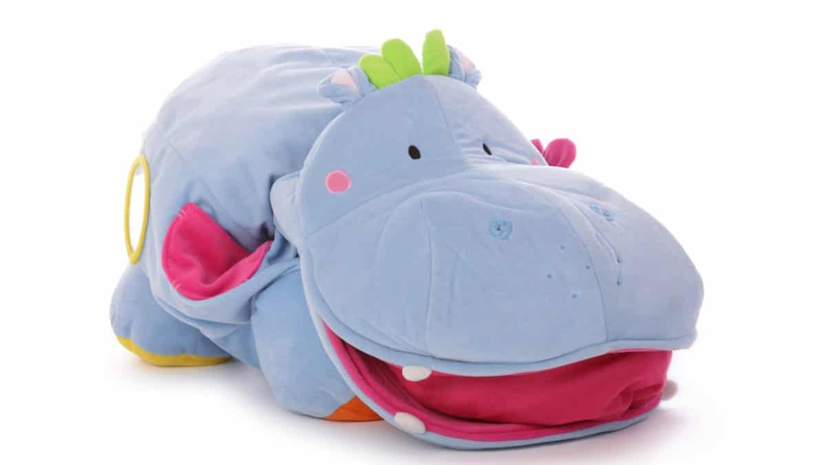 Jeu d'eveil et de découverte pour enfants de 3 mois à 2 ans : le gros cheval à bascule bleu – Idée cadeau pour bébé