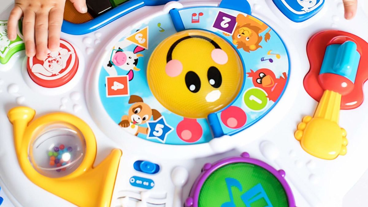 Premier jouet pour bébé : la table d'eveil pour découvrir un livre, le téléphone, un ordinateur et un piano – Bilingue Français/anglais