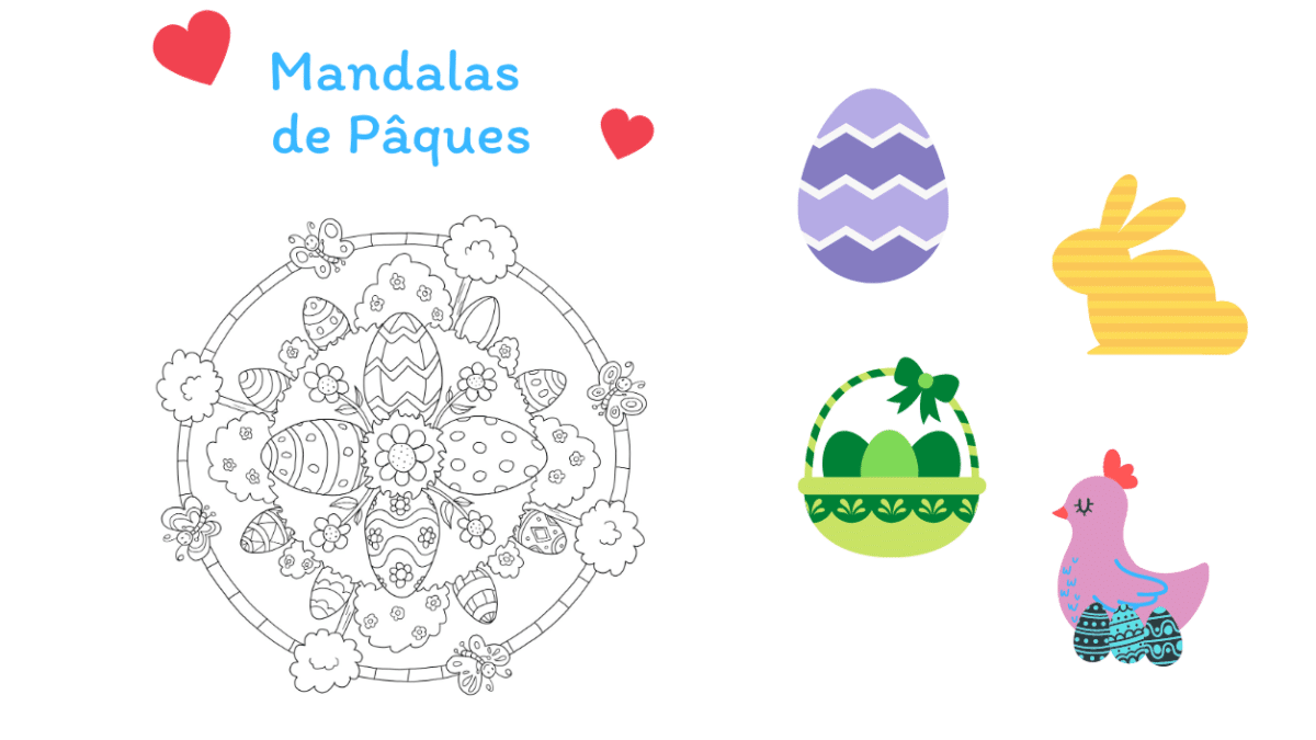 Mandala de Pâques à imprimer pour dessiner et colorier