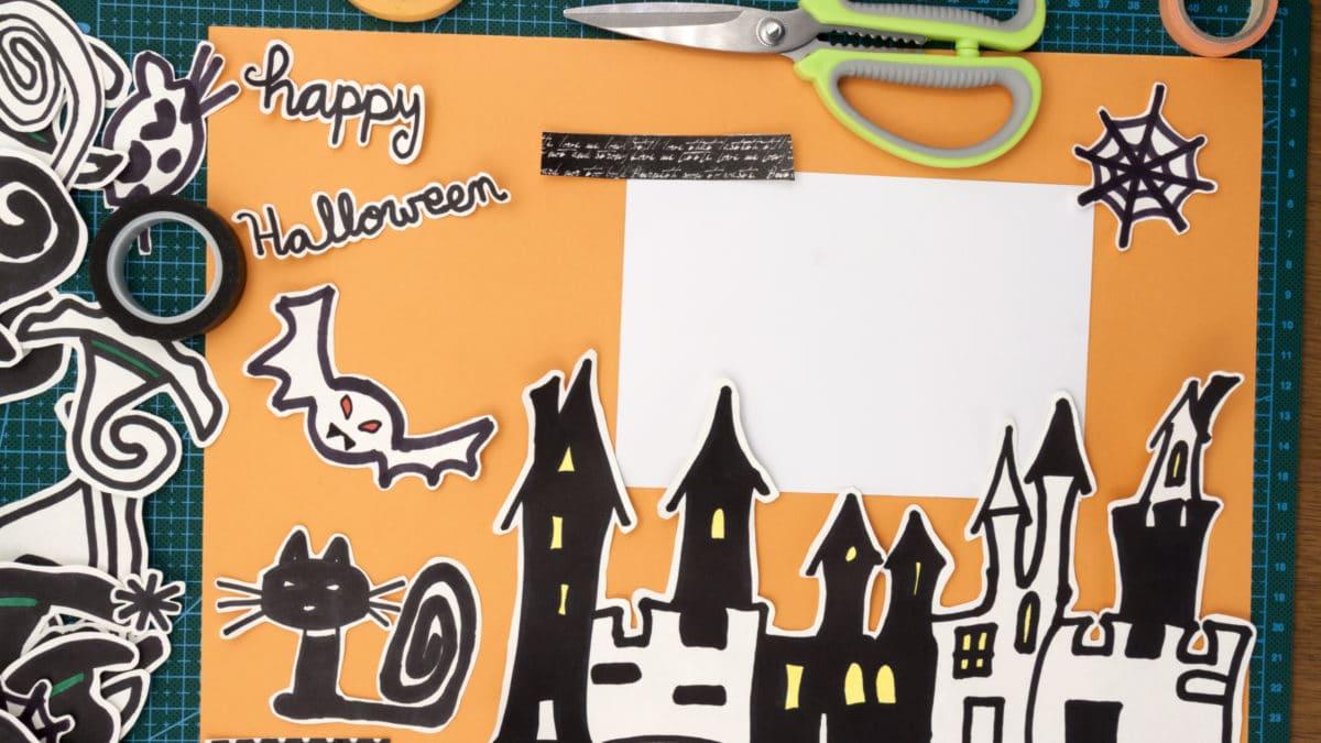 Halloween : pages de scrapbooking  -Téléchargement et impression gratuite de kits Halloween pour initier les enfants au scrap