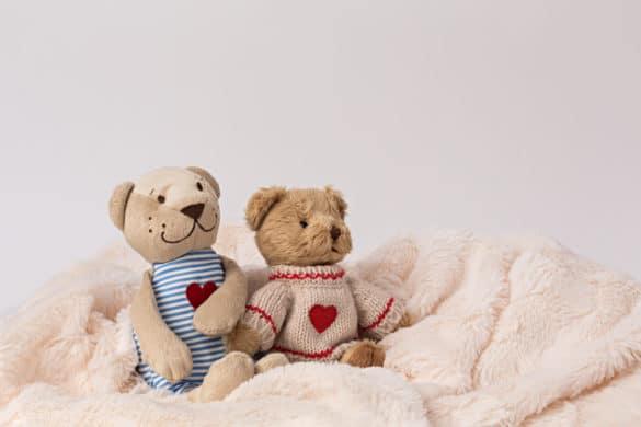 deux ours en peluches assis sur une couverture