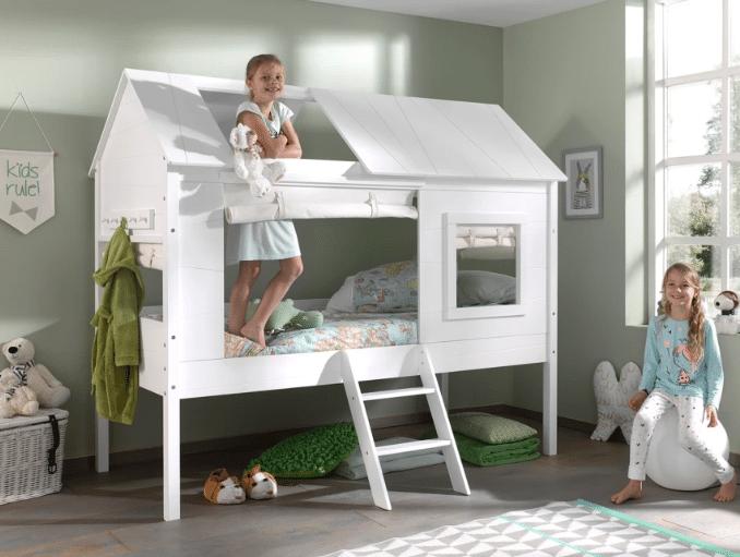 Lit cabane en pin massif avec tiroir de rangement intégré  – Un lit cabane avec toit amovible pour chambre de fille