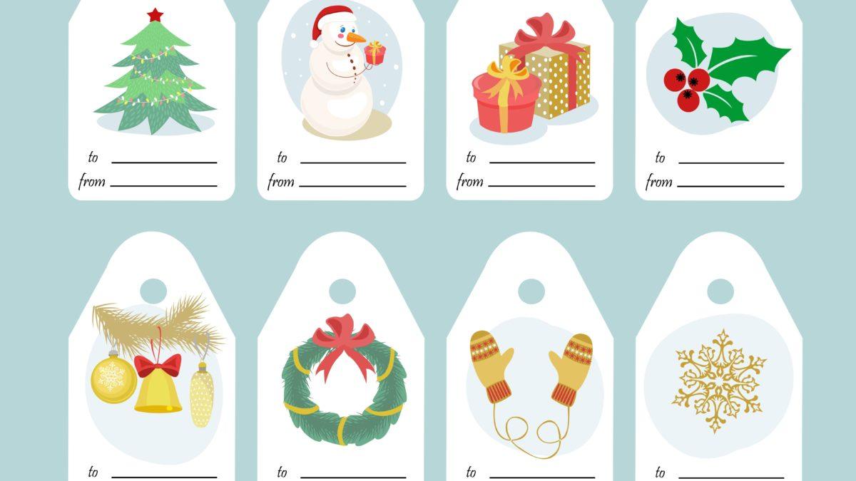 Etiquettes cadeau de Noël à imprimer