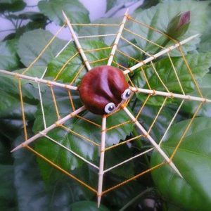 idee deco avec des marrons l'araignée sur sa toile