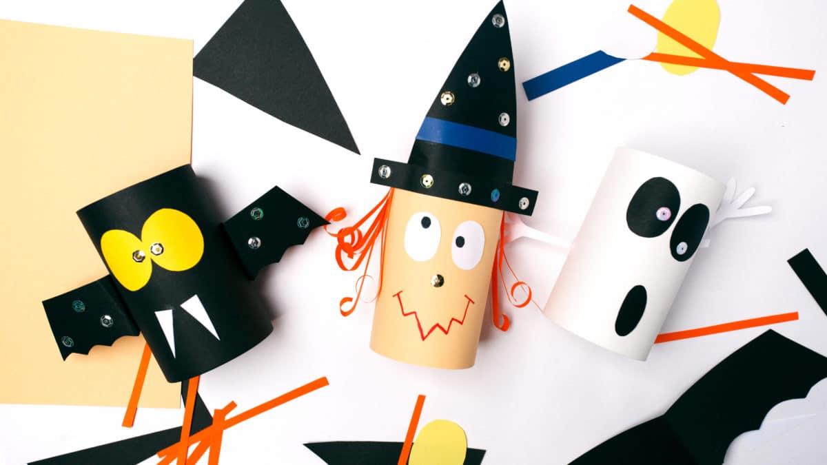 Bricolage pour halloween avec matériel de récupération : fabriquer des décorations d'halloween : chauve souris, fantôme, araignée