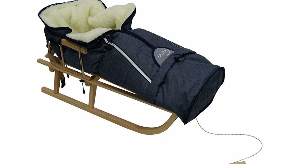 Luge bébé, luge enfant –  luge en bois avec ceinture de sécurité pour promener bébé et enfant dans la neige