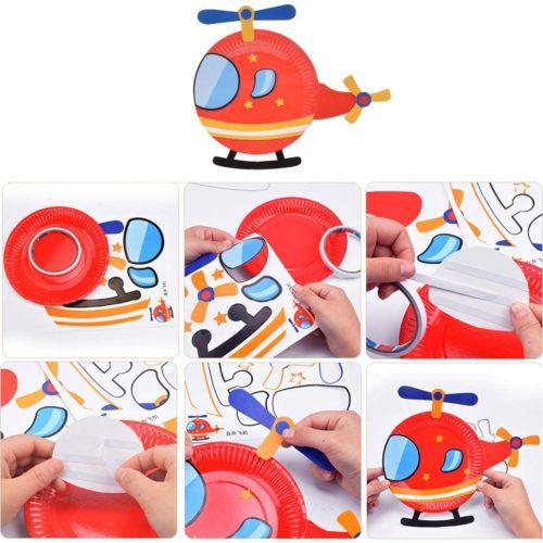 fabriquer un hélicoptère avec une assiette en carton