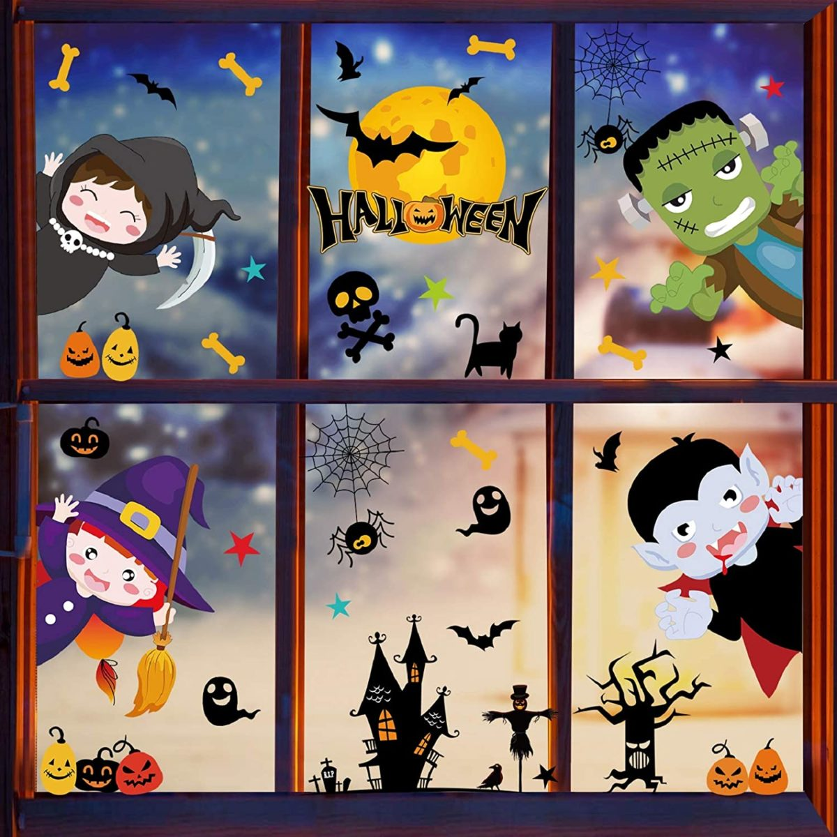 décor halloween pour fenêtre autocollants fenêtre pour enfant