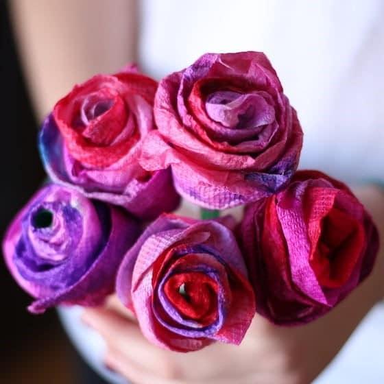 bouquet de fleurs en papier pour fête des mères